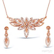 Picture of Argentum Concept Zircon Stoned Silver Rose Flower Set - S013402