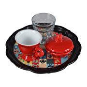 Picture of BiggDesign Anatolian Motifsn Motifs Coffee Cup Set Red