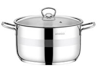 Picture of  Amboss Stone Stainless Steel Stockpot w/ Glass Lid - 24 x 14 cm