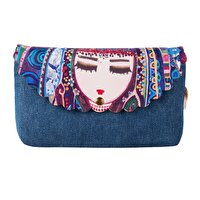 Picture of BiggDesign Blue Water Denim Make Up Bag by Turkish Artist for women