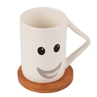 Picture of BIGGMUG Smiley Smiley Face Cup Set, Porcelain Mug, Bambu Coaster