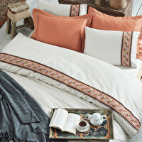 Picture of Ecocotton Otag Cream Ecolarge Duvet Cover Set,Organic 100% Turkish Cotton Yarn, 240*220 Cm