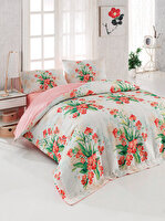 Picture of Gold Case 4 Season 100% Cotton Twin Size Quilted Duvet Set - Terra Pink