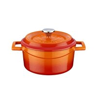 Picture of  Lava Cast Iron Casserole 18 cm Orange Round Pot with Lid