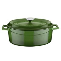 Picture of  Lava Cast Iron Casserole 23 x 29 cm Green Elliptic Pot with Lid