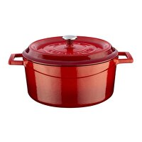 Picture of  Lava Cast Iron Casserole 24 cm Red Round Pot with Lid