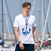 Picture of BiggDesign AnemosS Anchor Men's Crew-neck White T-Shirt - Small