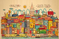 Picture of BiggDesign Smiling Istanbul Galata Wooden PostCard
