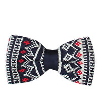 Picture of BIGGFASHION Navy Knitting Pattern Bowtie - 2