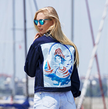 Picture of BiggDesign AnemoSS Sailor Girl Jeans Jacket for women, designed by Turkish artist