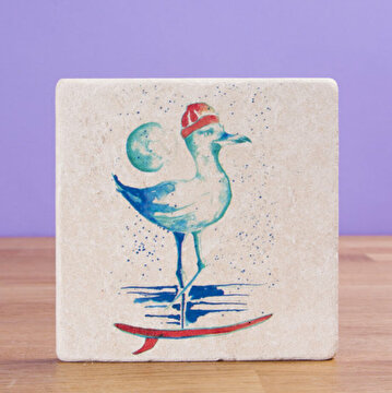 Picture of BiggDesign AnemoSS Sailor Seagull Natural Stone Coaster, Designed by Turkish Designer