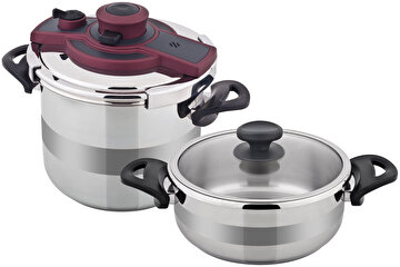 Picture of   Amboss Matik Stainless Steel Pressure Cooker Set 3.5 Liter + 7 Liter - Grey
