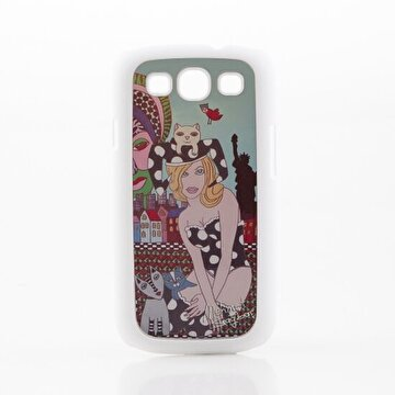 Picture of Biggdesign Galaxy S3 White Cover Cat Girl