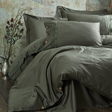 Picture of Ecocotton Belinda Green Ecolarge Duvet Cover Set, Organic 100%  Turkish Cotton Yarn, 240*220 Cm