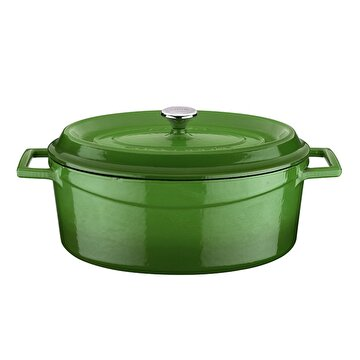 Picture of  Lava Cast Iron Casserole 21x27 cm Green Elliptic Pot with Lid