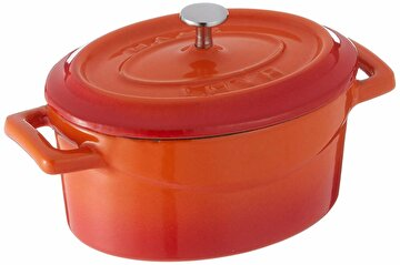 Picture of   Lava Enamelled Cast Iron Oval Casserole 26X33 cm - Orange