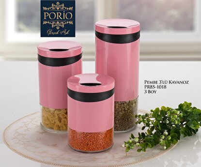 Picture of Porio PR85-1018 Pembe 3 Lü 3 Boy Kavanoz