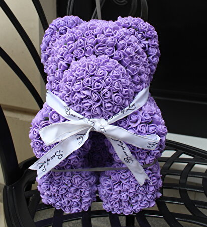 Resim   Box Of Luv Flowers Mor Teddy Bear Yapay Gül
