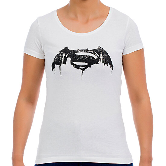 Batman v Superman Beyaz Kadın T-Shirt
