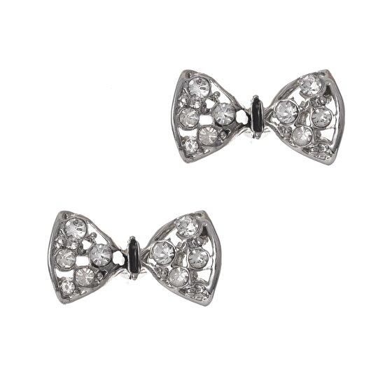 Biggbijoux Barkıel Fiyonk Taşlı Küpe-Gümüş Renkli