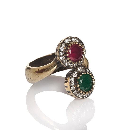 Biggbijoux Barkıel Renklı Taş Yüzük-Kırmızı Yeşil Renkli