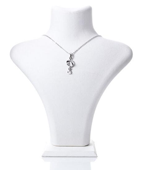 Biggbijoux Barkıel Taşlı Kolye-Gümüş Renkli