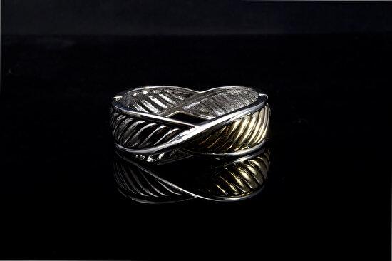 Biggbijoux Hathor Örgü Kelepçe-Altıngümüş Renkli