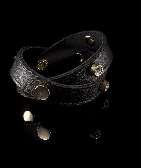 Biggbijoux Hathor Taşlı Deri Bileklik-Siyah Renkli