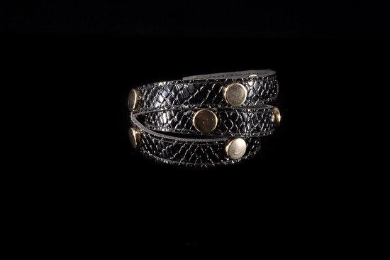 Biggbijoux Hathor Taşlı Yılan Deri Bileklik-Siyah Renkli