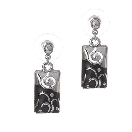 Biggbijoux Lepha Çift Renk Küpe-Siyah Gümüş Renkli