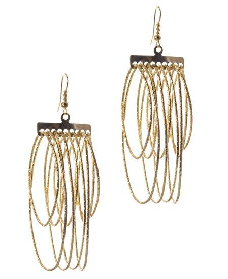 Biggbijoux Lepha Oval Püskül Küpe-Altın Renkli