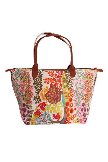 Biggfashion Çiçek Desenli Katlanabilir Çanta