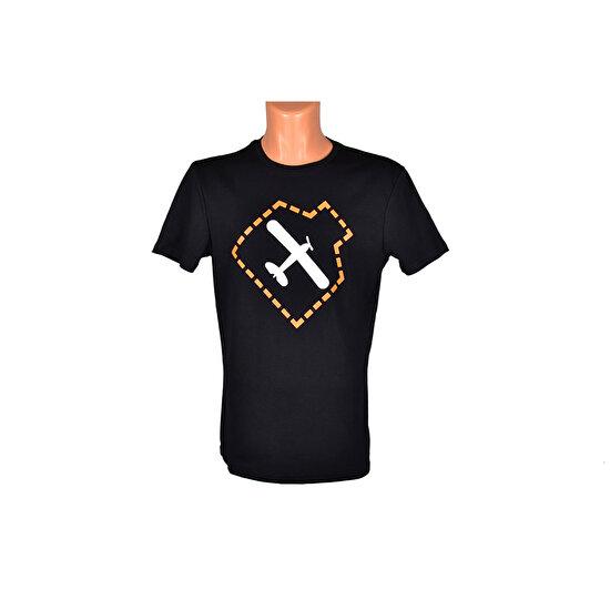 THK Design Uçak Baskılı Siyah T-Shirt