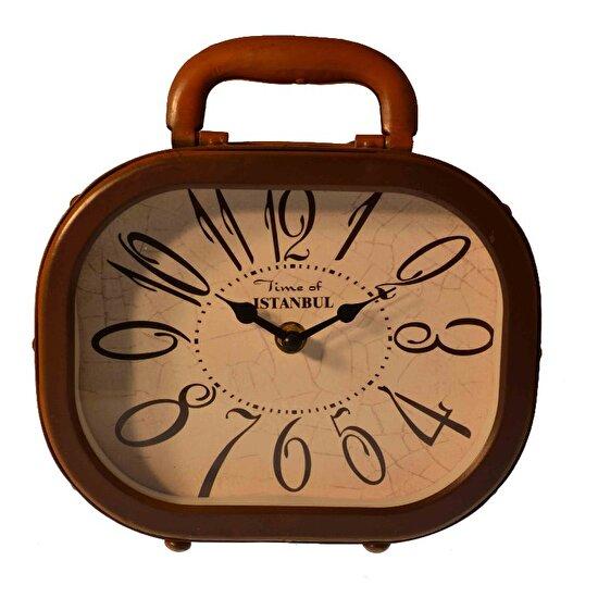 Xoom Retro Bavul Masa Saati Kahverengi