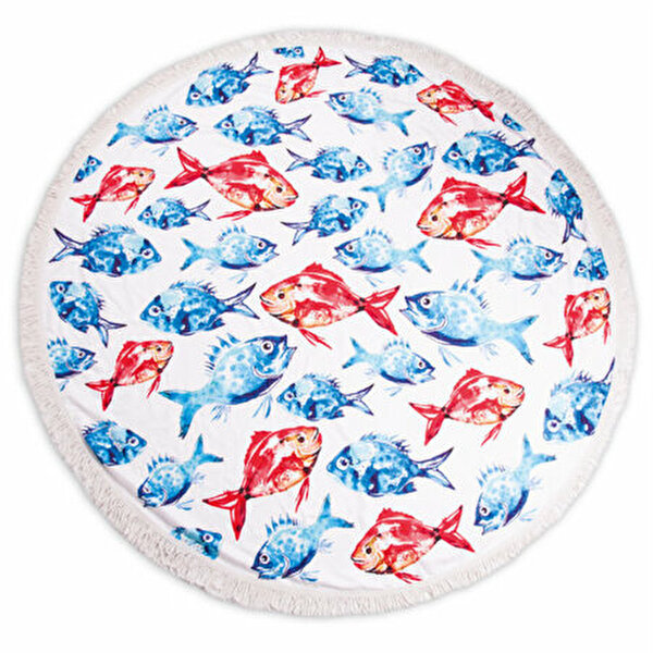 Picture of  BiggDesign AnemosS Sea Bream Patterned Round Beach Towel - White