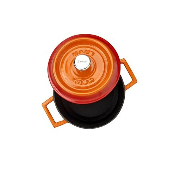 Picture of  Lava Cast Iron Round Dutch Oven with Lid - 14 cm - Orange
