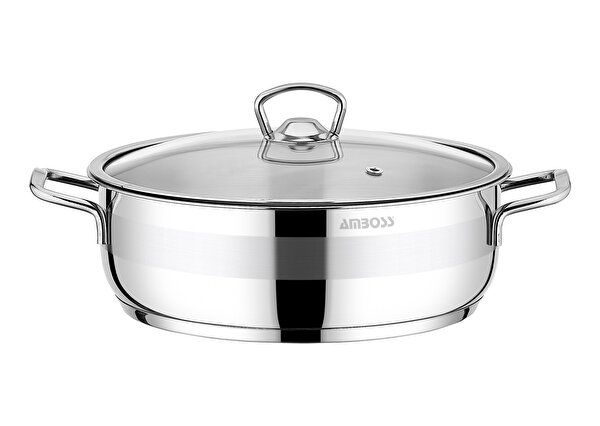 Picture of  Amboss Stone Stainless Steel Stockpot w/ Glass Lid - 28 x 8 cm