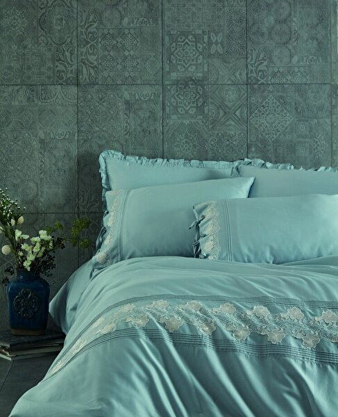 Picture of Ecocotton Verda Blue Ecolarge Duvet Cover Set, Organic 100% Turkish Cotton