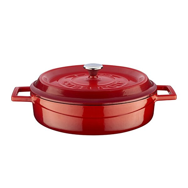 Picture of  Lava Cast Iron Casserole 24 cm Red Shallow Pot with Lid