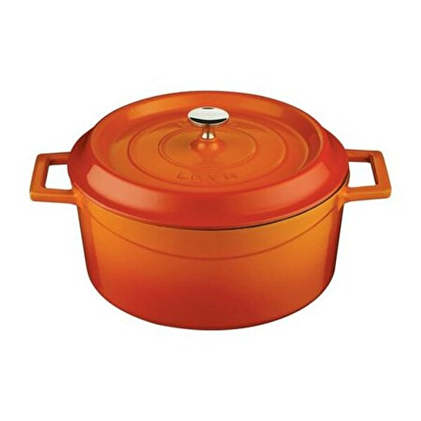 Picture of  Lava Cast Iron Round Dutch Oven with Lid - 28 cm - Orange