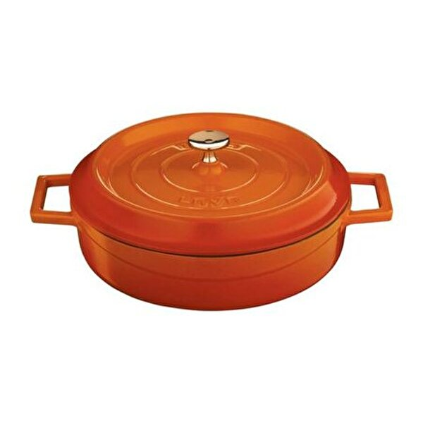 Picture of  Lava Cast Iron Shallow Dutch Oven with Lid -28 cm - Orange