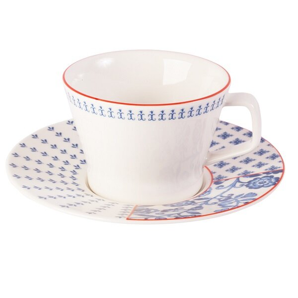 Picture of Porland  Folksy Tea Cup And Saucer Set Of 6, 210 Cc