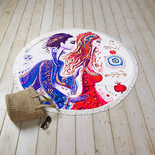 "Picture of BiggDesign ""Love"" Patterned Round Beach Towel"