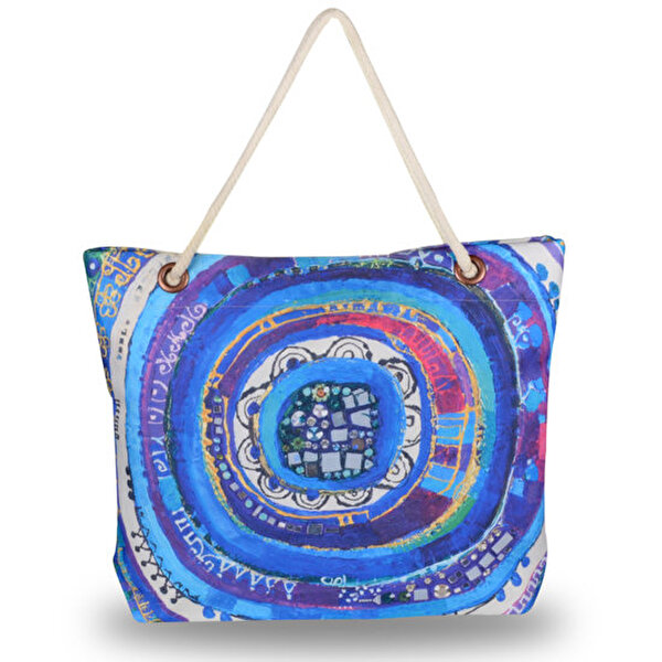 "Picture of BiggDesign ""Evil Eye"" Patterned Beach Bag - Blue"
