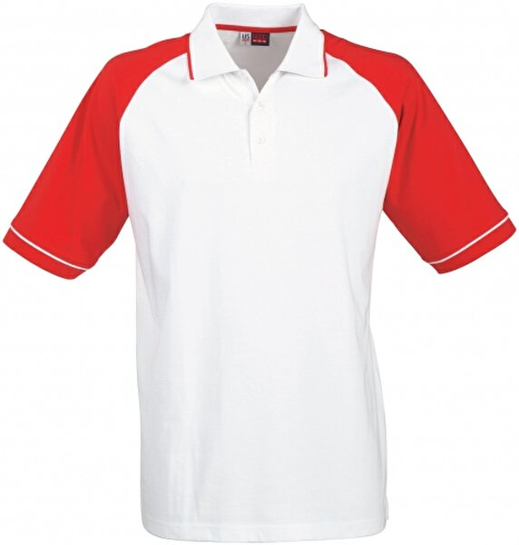 Picture of Us Basic 31081251 Polo T Shirt Red / White Small