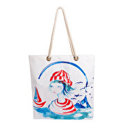 Picture of Biggdesign Anemoss Sailor Girl Patterned Beach Bag
