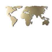 Resim  Bystag BYSM-181 World Map Silhouette Gold Metal Duvar Dekoru