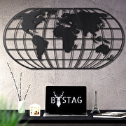Resim  Bystag BYSM-190 World Map Globe Black Metal Duvar Dekoru