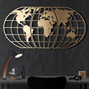 Resim  Bystag BYSM-193 World Map Globe Gold Metal Duvar Dekoru