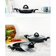 Picture of Hisar Assos Multi Granite Black 6 Piece Cookware Set